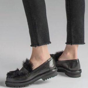 REAL FUR L'IDEA  designer black leather loafers
